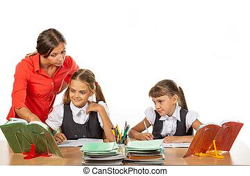 tâche, comprendre, aides, étudiant, prof