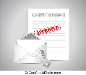 tâche, concept, approuvé, hypothèque