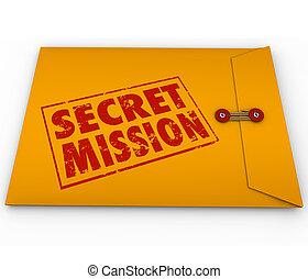 tâche, dossier, tâche, top secret, enveloppe, mission, jaune, métier