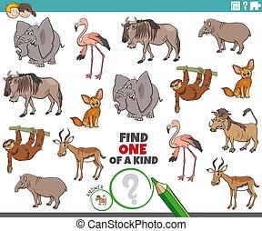 tâche, enfants, une, espèce, animaux sauvages
