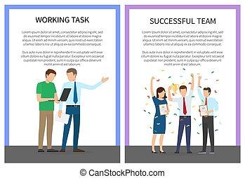 tâche, fonctionnement, coloré, réussi, affiche, équipe