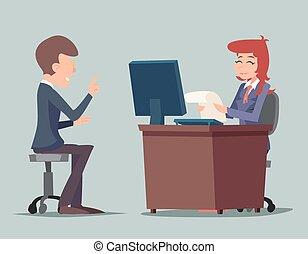 tâche, informatique, caractères, fonctionnement, illustration, conversation, métier, vecteur, conception, retro, fond, bureau, entrevue, élégant, homme affaires, dessin animé, icône