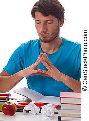 tâche, méditer, étudiant, avant
