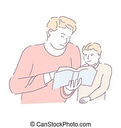 tâche, père, fils, livre, lecture, devoirs