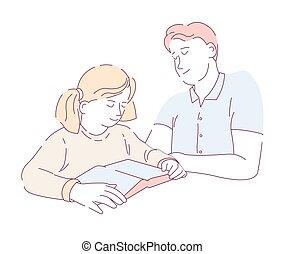 tâche, père, isolé, fils, vecteur, caractères, livre lecture, devoirs