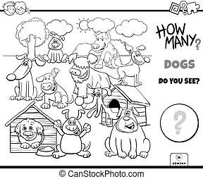 tâche, pédagogique, chiens, couleur, dénombrement, livre