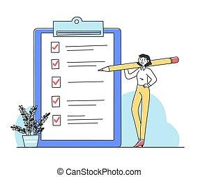 tâches, coutil, liste contrôle, plat, illustration, femme, fermé