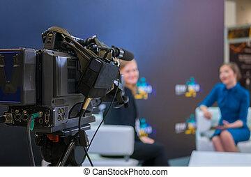 tã©lã©viseur, émission, studio, nouvelles, appareil-photo vidéo, enregistrement, entrevue