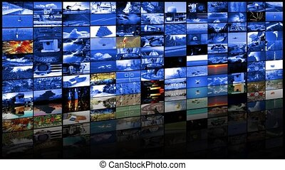 tã©lã©viseur, concept, mur, production, fond, vidéo, 4k, technologies