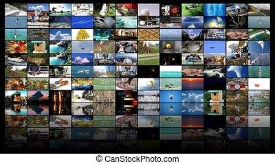 tã©lã©viseur, concept, mur, production, fond, vidéo, 4k, ...