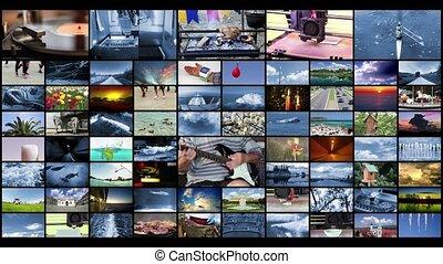 tã©lã©viseur, concept, mur, production, vidéo, fond, ...