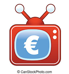 tã©lã©viseur, euro, retro, icône