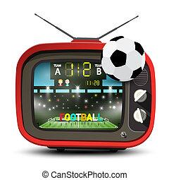 tã©lã©viseur, football, illustration., tv, football, vecteur, retro, stade, équipe, allumette, ot, ball., rouges