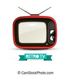 tã©lã©viseur, illustration., tv, vendange, isolé, arrière-plan., vecteur, retro, blanc, analogue, rouges
