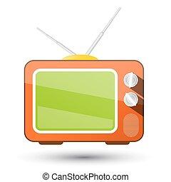 tã©lã©viseur, isolé, arrière-plan., vecteur, retro, tv., blanc, icône
