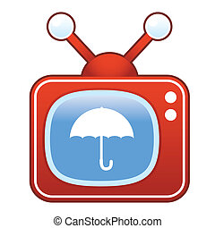tã©lã©viseur, parapluie, retro, icône