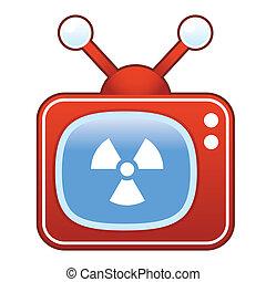 tã©lã©viseur, radiation, retro, icône
