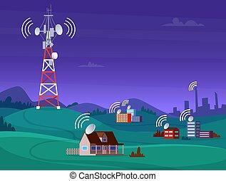 tã©lã©viseur, reportage, mobile, antena, signal, illustration, sans fil, vecteur, radio, tower., cellulaire, paysage numérique, satelite