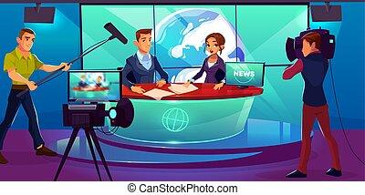 tã©lã©viseur, tv, reportage, présentateurs, nouvelles, studio