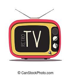 tã©lã©viseur, vendange, isolé, arrière-plan., vecteur, retro, tv., blanc