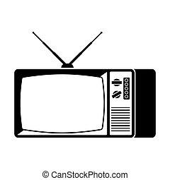 tã©lã©viseur, vieux, tv, signe., illustration, vecteur, retro, icon.