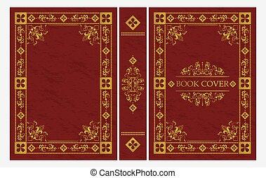 täcka, guld, vektor, illustration, klassisk, prydnad, bok, röd, lägenhet