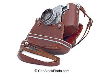 täcka, kamera, gammal, isolerat, white.