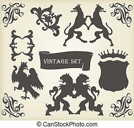 täcka, kunglig, vapen, illustration, årgång, fåglar