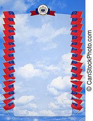 täcka, ram, samoa., vapen, illustration, flagga, gräns, 3