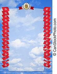 täcka, ram, tunisia., vapen, illustration, flagga, gräns, 3