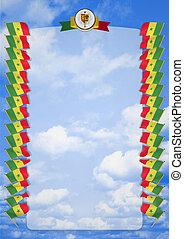 täcka, ram, vapen, illustration, flagga, senegal., gräns, 3