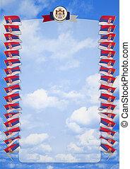 täcka, ram, vapen, illustration, flagga, serbia., gräns, 3
