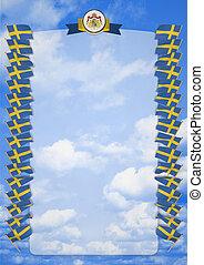 täcka, ram, vapen, illustration, flagga, sweden., gräns, 3