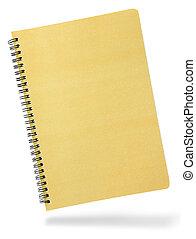 täcka, spiral, isolerat, anteckningsbok, främre del, vit
