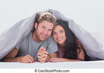 täcke, par, vacker, under