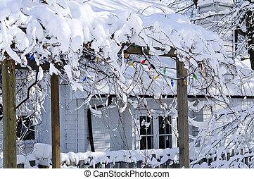 täckmantel gård, av, a, hus, in, vinter