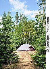 tält, hos, lägerplats, in, den, vildmark