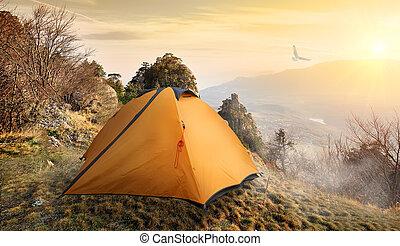 tält, in, mountains