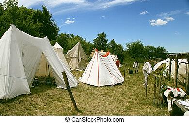 tält, läger