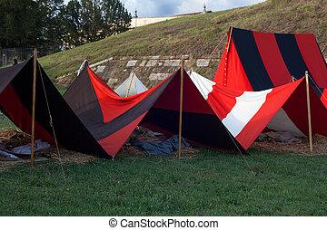 tält, på, militär, läger