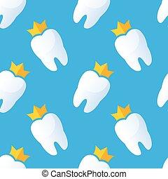 tänder, vektor, pattern., illustration., seamless
