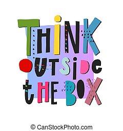 tänka, boxas, citera, utanför, lettering.
