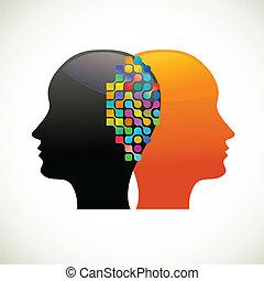 tänka, folk, meddela, prata