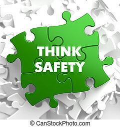 tänka, säkerhet, på, grön, puzzle.