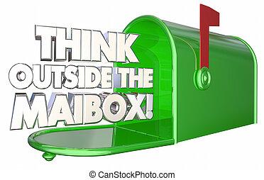 tänka, utanför, den, brevlåda, innovera, meddelande, leverans, 3, illustration