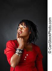 tänkande, afrikansk kvinna
