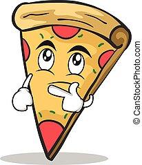 tänkande, ansikte, tecken, tecknad film, pizza