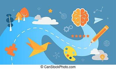tänkande, begrepp, illustration., skapande