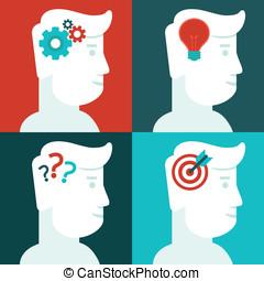 tänkande, begrepp, mänsklig, vektor