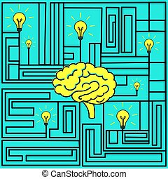 tänkande, begrepp, vektor, illustration., skapande